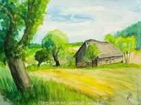 Baum, Scheune, Landschaft, Aquarellmalerei
