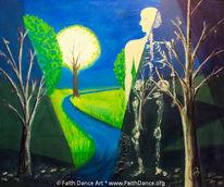 Baum, Skellett, Trocken, Acrylmalerei
