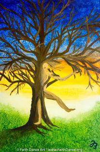 Baum, Befreiung, Tanz, Ölmalerei