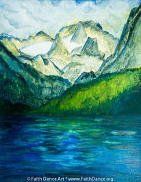 See, Gouachemalerei, Berge, Malerei