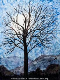 Aquarellmalerei, Baum, Mondschein, Aquarell