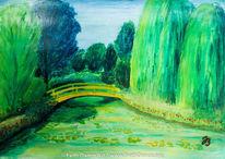 Landschaft, Teich, Temperamalerei, Garten