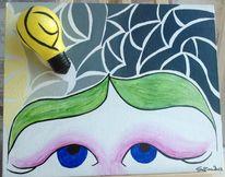 Mosaik, Licht, Acryl auf leinwand, Menschen