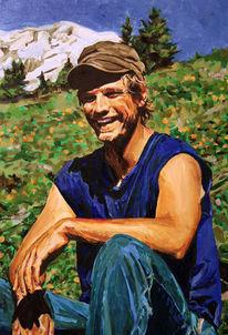 Mann, Landschaft, Portrait, Malerei