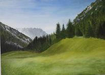 Nebel, Berge, Wiese, Bergwald