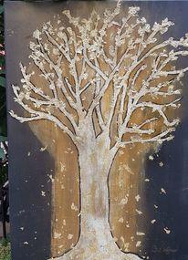Blätter, Zweig, Hergeben, Gold