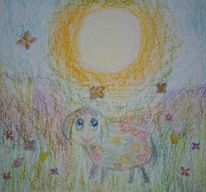 Bunte wiese, Schaf, Himmel, Sonne