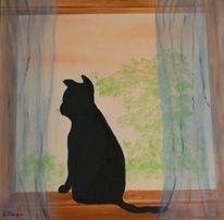 Baum, Katze, Fenster, Sehnsucht