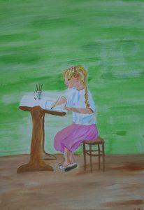 Mädchen, Pinsel, Malen, Schreibtisch