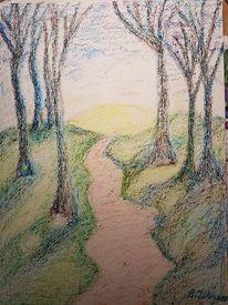Licht und schatten, Baum, Grün, Wolken