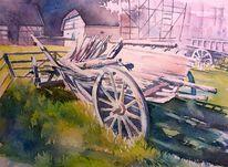 Hay wagon, Schäfer, Aquarellmalerei, Leiterwagen