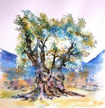 Olivenbaum, Aquarellmalerei, Aquarell, Alter