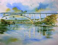 Oberfranken, Eisenbahnbrücke, Aquarellmalerei, Coburg