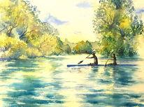 Aquarellmalerei, Schloss banz, Kanu, Wasser