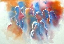 Fußgänger, Person, Backlight, Aquarellmalerei