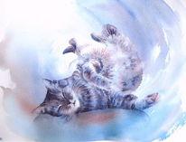 Katze, Entspannte, Aquarellmalerei, Tiere