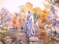 Hofgarten, Aquarellmalerei, Standbild, Coburg