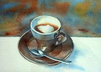 Aquarellmalerei, Cappuccino, Kaffee, Löffel
