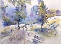 Usa, Aquarellmalerei, Nyc, Central park