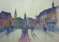 Coburg, Oberfranken, Aquarellmalerei, Marktplatz