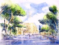 Rom, Aquarellmalerei, Italien, Colosseum
