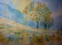 Baum, Morgen, Wald, Aquarellmalerei