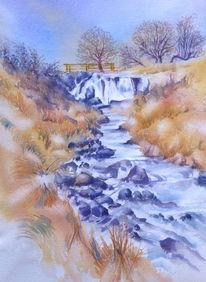 Aquarell naturreservat, Eisgraben, Winter, Wasserfall