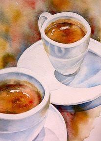 Espresso, Aquarellmalerei, Kaffee, Aquarell