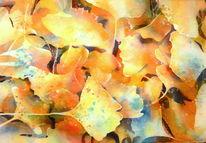 Blätter, Gelb, Aquarellmalerei, Laub