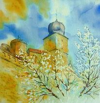 Festung, Oberfranken, Aquarellmalerei, Blauer turm