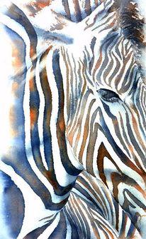 Tiere, Streifen, Tierportrait, Aquarellmalerei