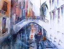 Venedig, Aquarellmalerei, Gondel, Venezia