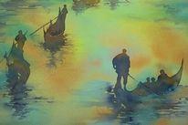 Aquarellmalerei, Venedig, Venezia, Sonnenuntergang