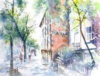 Baum, Grün, Stadt, Aquarellmalerei