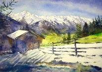 Neukirchen, Austria watercolor, Scheune, Bramberg