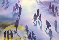 Grand central terminal, Nyc, Aquarellmalerei, People move