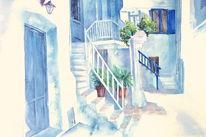 Griechenland, Aquarellmalerei, Aquarell, Schatten