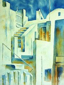 Griechenland, Aquarellmalerei, Santorin, Labyrinth