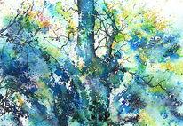 Birne, Frühling, Aquarellmalerei, Baum