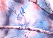 Vogel, Aquarellmalerei, Winter, Schnee
