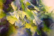 Ginkgo, Herbst, Blätter, Aquarellmalerei