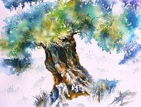 Oliv, Griechenland, Aquarellmalerei, Olivenbaum