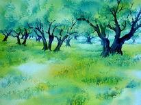 Kreta, Olivenbaum, Griechenland, Aquarellmalerei