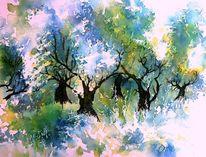 Aquarellmalerei, Olive grove, Olivenbaum, Griechenland