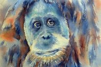 Persönlichkeit, Menschenaffen, Aquarellmalerei, Tiere