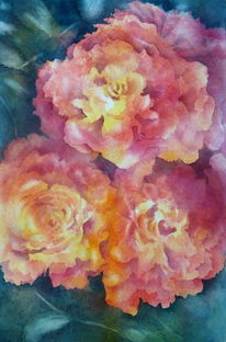 Rose, Planzen, Rot, Negative watercolour