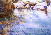 Aquarellmalerei, Samaria, Schlucht, Kreta