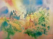 Schloss, Aquarellmalerei, Kapelle, Ahorn