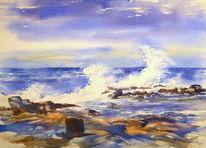 Brandung, Meer, Aquarellmalerei, Strand