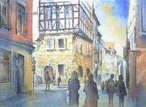 Oberfranken, Franken, Steingasse, Aquarellmalerei